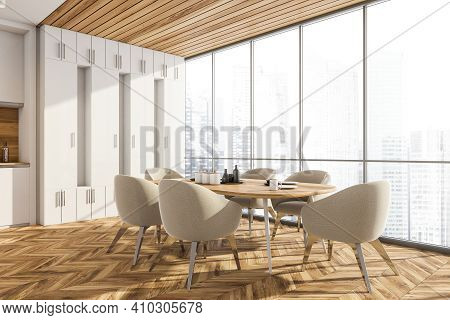 Wooden Dining Room With City View. Dining Table With Dishes And Six Chairs, Side View. Kitchen Set W