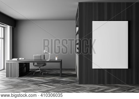 Modern Office Interior. White Poster On Wooden Wall. Mock Up. Ceo Desk. City View, Panoramic Window.