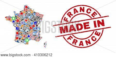 Production France Map Mosaic And Made In Grunge Stamp Seal. France Map Collage Created With Spanners