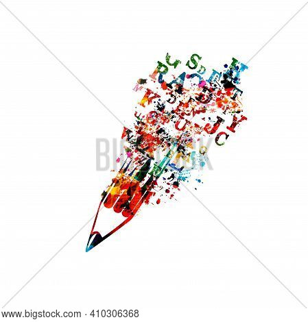 Colorful Pencil With Alphabet Letters Isolated For Creative Writing, Idea And Inspiration, Education