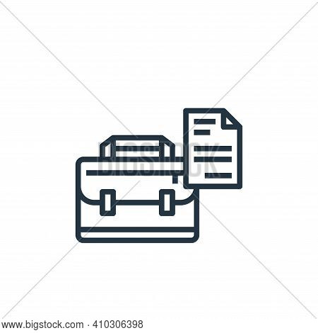 briefcase icon isolated on white background from stationery collection. briefcase icon thin line out