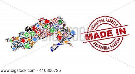 Industrial Mosaic Arunachal Pradesh State Map And Made In Textured Rubber Stamp. Arunachal Pradesh S