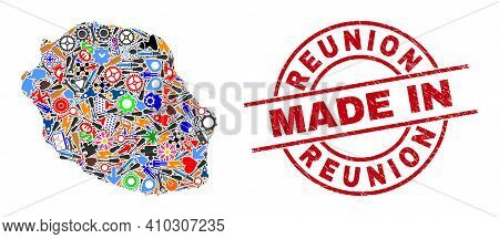 Industrial Mosaic Reunion Island Map And Made In Distress Stamp Seal. Reunion Island Map Mosaic Crea