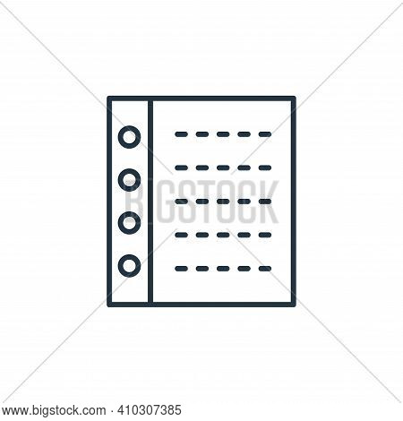 binder icon isolated on white background from stationery collection. binder icon thin line outline l