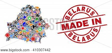Development Mosaic Belarus Map And Made In Textured Rubber Stamp. Belarus Map Abstraction Designed W