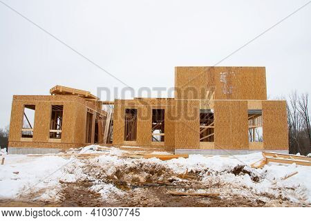 Winter Construction Plywood House Frame Job Site Real