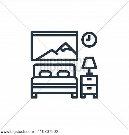 bedroom icon isolated on white background from hotel collection. bedroom icon thin line outline line