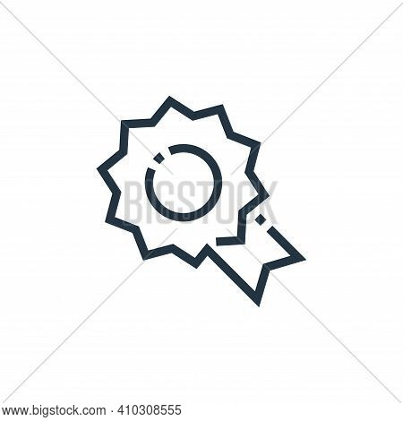 badge icon isolated on white background from web essentials collection. badge icon thin line outline