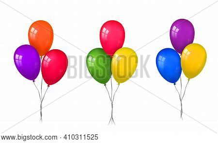 Balloons 3d Bunch Set, Thread, Isolated White Background. Color Glossy Flying Baloon, Ribbon, Birthd