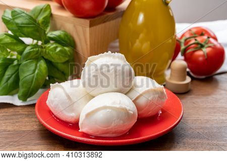 Cheese Collection, Small Fresh White Soft Mozzarella Cheese Balls Served With Red Tomatoes And Fresh