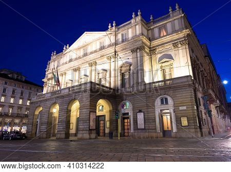 Milan, Italy - Circa August 2020: Theatre La Scala By Night. One Of The Most Famous Italian Building