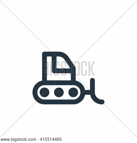 bulldozer icon isolated on white background from labour day collection. bulldozer icon thin line out