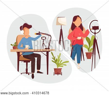 Podcast, Vloggers Or Bloggers Create Internet Content. Vector Flat Illustration. Characters Creating