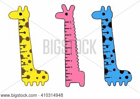 Set Of Kids Rulers. Kids Rulers With Funny Animals. Vector Illustration In Doodle Cartoon Style. Set