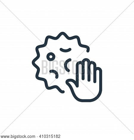 stop icon isolated on white background from coronavirus collection. stop icon thin line outline line