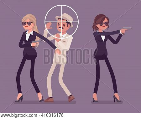 Bodyguard Women Protect Important Famous Man, Optical Sniper Sight. Professional Trained Armed Perso
