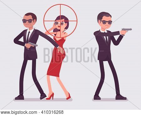 Bodyguard Men Protect Important Famous Woman, Optical Sniper Sight. Professional Trained Armed Perso