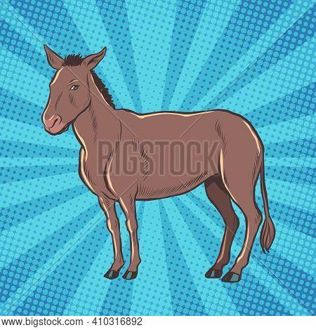 Donkey Is A Farm Animal. Pop Art Retro Vector Illustration Vintage Kitsch 50s 60s Style