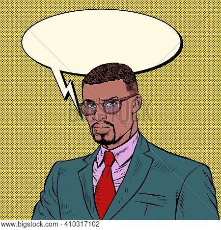 African Businessman. A Confident Competent Man. Pop Art Retro Vector Illustration Vintage Kitsch 50s