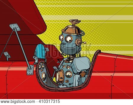 Robot Autopilot Flies The Plane Retro. Pop Art Retro Vector Illustration Vintage Kitsch 50s 60s Styl