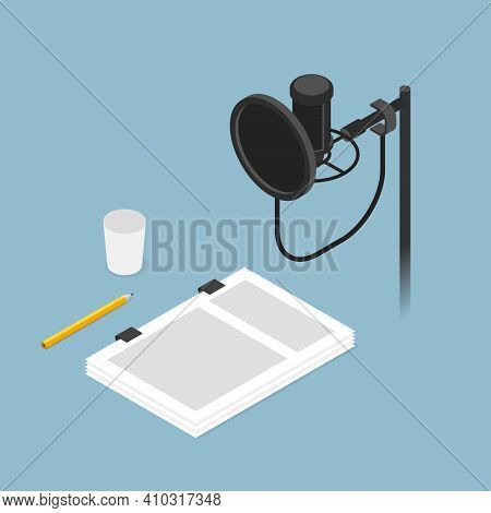 Vector Isometric Film Dubbing Studio Vector Concept Illustration. Condenser Microphone On Stand With