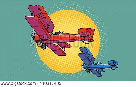 Retro Aircraft Of The First World War. Pop Art Retro Vector Illustration Vintage Kitsch 50s 60s Styl