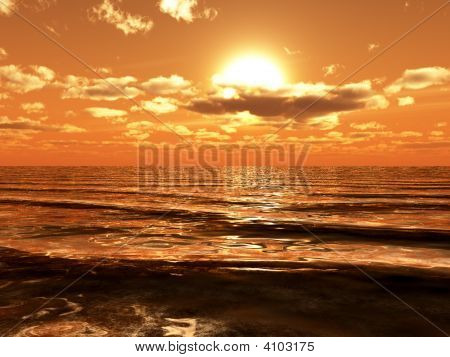 Sun Shining Over Ocean Waves.