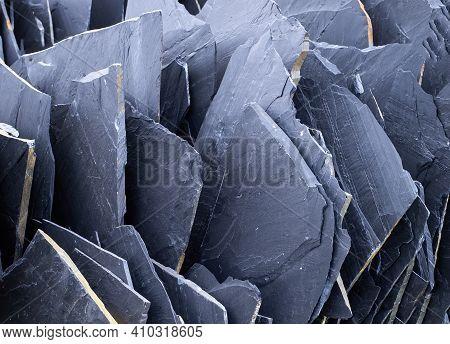 Texture Of Black Slate Slabs In A Quarry Or Pit, Building Material, Black Stone, Dark Grey, Black Sl
