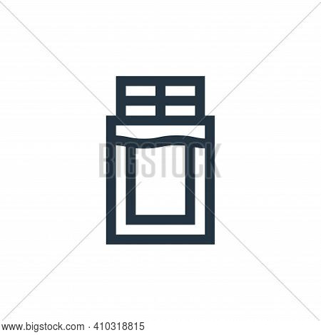chocolate bar icon isolated on white background from vegan collection. chocolate bar icon thin line