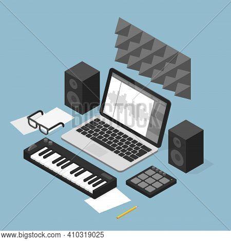 Vector Isometric Sound Production Studio Illustration. Sound Production Equipment - Laptop, Speakers