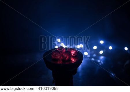 Close-up Of Burning Charcoal Cubes. Action. Cubes Of Embers Burning In Bowl For Smoking Hookah. Comb
