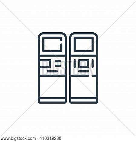 atm icon isolated on white background from mall collection. atm icon thin line outline linear atm sy