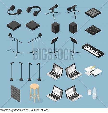 Vector Isometric Sound Production Objects Set. Collection Of Sound Production Equipment - Vocal Micr