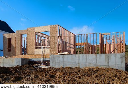 Frame And Foundation Of The New House Site Real Development