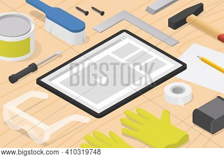 Vector Isometric Woodworking Online Tutorial Illustration. Tablet With Woodworking Tools - Hammer, S