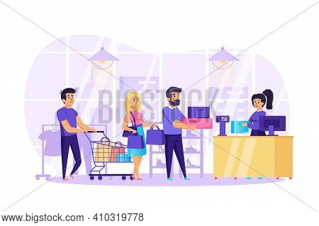 People Shopping In Store Scene. Men And Women Holding Purchases Queuing Up At Checkout. Cashier In C