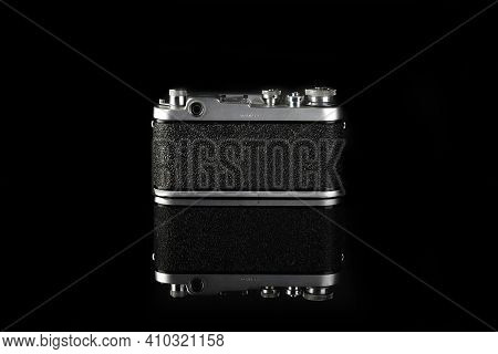 Moscow, Russia, February 28, 2021. The Old Soviet Rangefinder Film Camera Fed-2, Black Body, Release