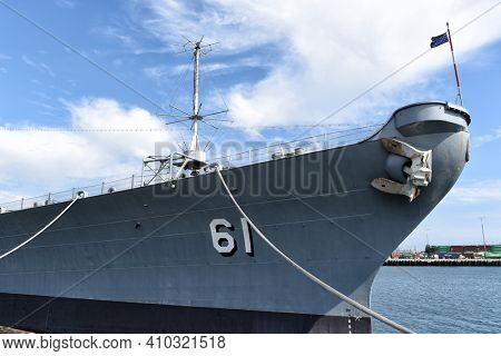 LOS ANGELES, CALIFORNIA - 06 MAR 2020: The bow of BB-61, the USS Iowa, a retired naval warship now a Maritime Museum.