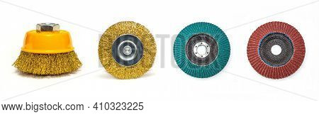 Abrasive Tools Or Round Brush For Grinding Building Materials On White Background