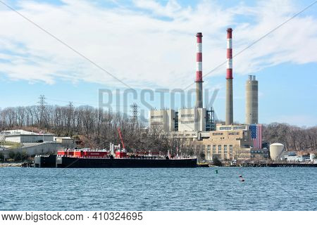 PORT JEFFERSON, NEW YORK - 6 MAY 2015: The Port Jefferson Generating Station.