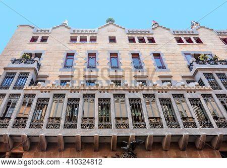 Guell Palace On La Rambla Street In Barcelona, Spain