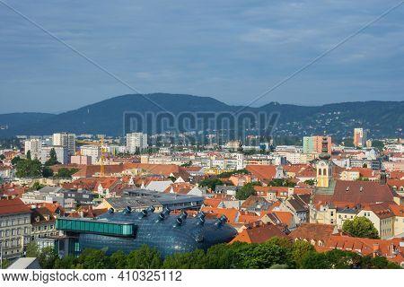 Cityscape Of Graz From Shlossberg Hill, Graz, Styria Region, Austria