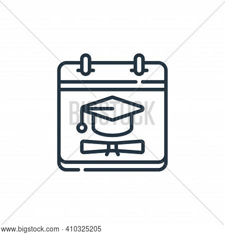 graduation icon isolated on white background from calendar and date collection. graduation icon thin