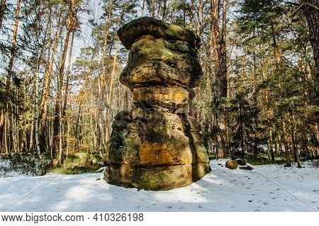 Formation Called Seven Breads,cz Sedm Chlebu, In Sandstone Rock. Natural Erosion In Pine Forest Near