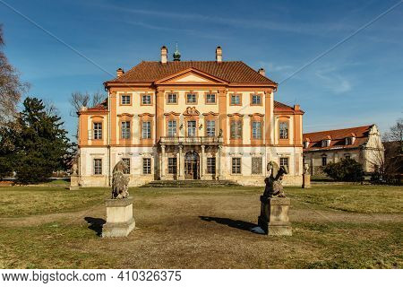 Libechov, Old Abandoned Baroque Castle In Central Bohemia,czech Republic.romantic Building With Balc