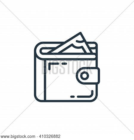 wallet icon isolated on white background from money and currency collection. wallet icon thin line o