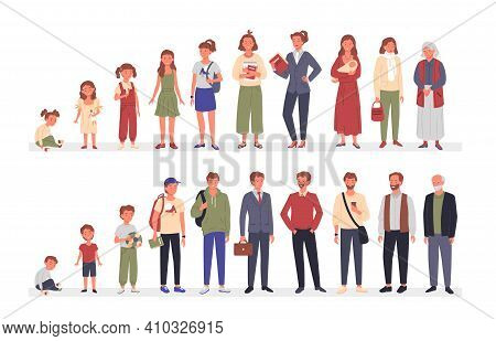 People In Different Ages Set, Cartoon Life Aging Stage Cycle Collection Of Woman And Man