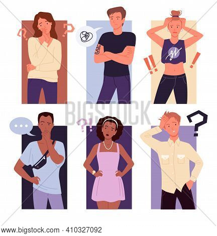 Thinking People Confuse Set, Puzzled Confused Gestures Of Guy Girl Background Collection
