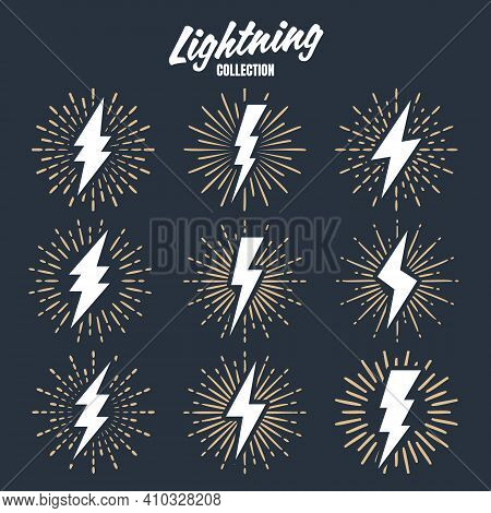 Set Of Vintage Lightning Bolts And Sunrays. Lightnings With Sunburst Effect. Thunderbolt, Electric S
