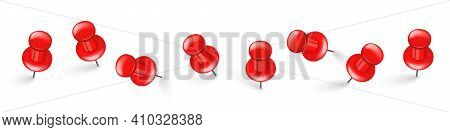Realistic Red Push Pins. Board Tacks Isolated On White Background. Plastic Pushpin With Needle. Vect